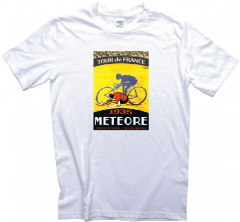 Tour de France 1935 Race Poster T-Shirt. 12 Sizes Bicycle Racing Tee Bike Cycling Meteore